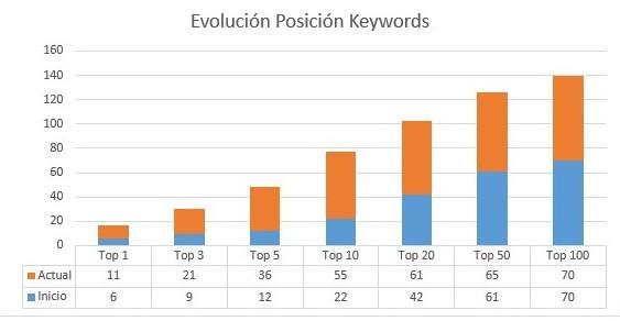 Grafico evolucion keywords seo
